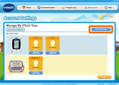 Edit Child Info button