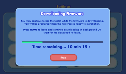 Firmware downloading dialog