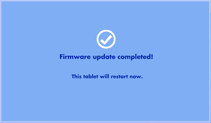 Firmware update completed screen