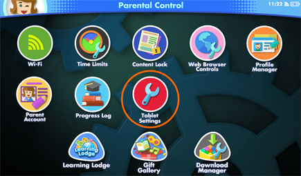 Tablet Settings on Parental Control