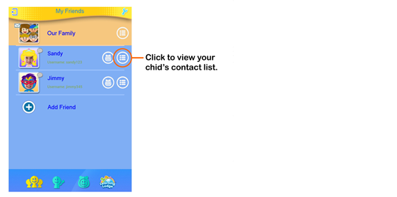 Your Child's Contacts screen