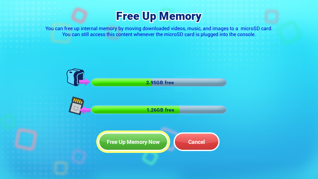 Free up memory screen capture