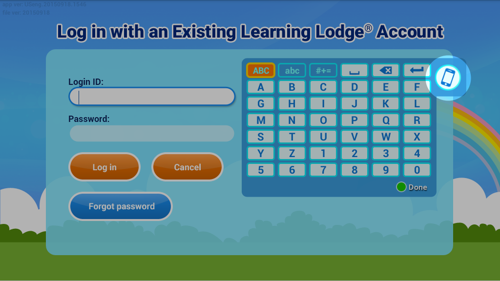 Login with an existing learning lodge® account screen capture.