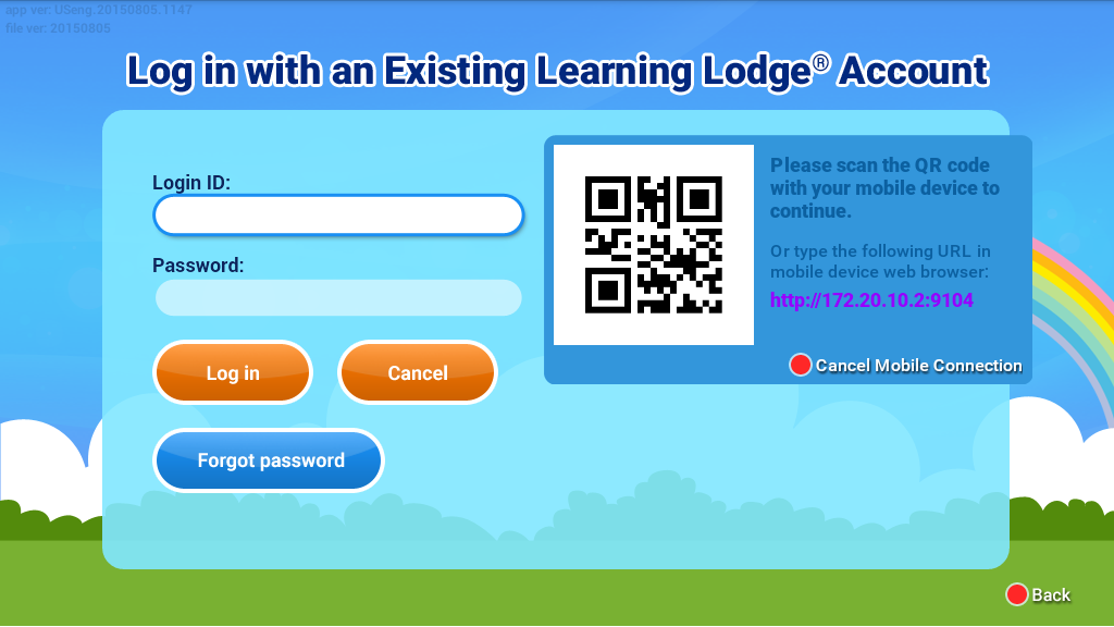 QR code Login with an existing learning lodge® account screen capture.