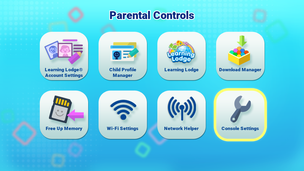 Console Settings icon on the Parental Controls menu