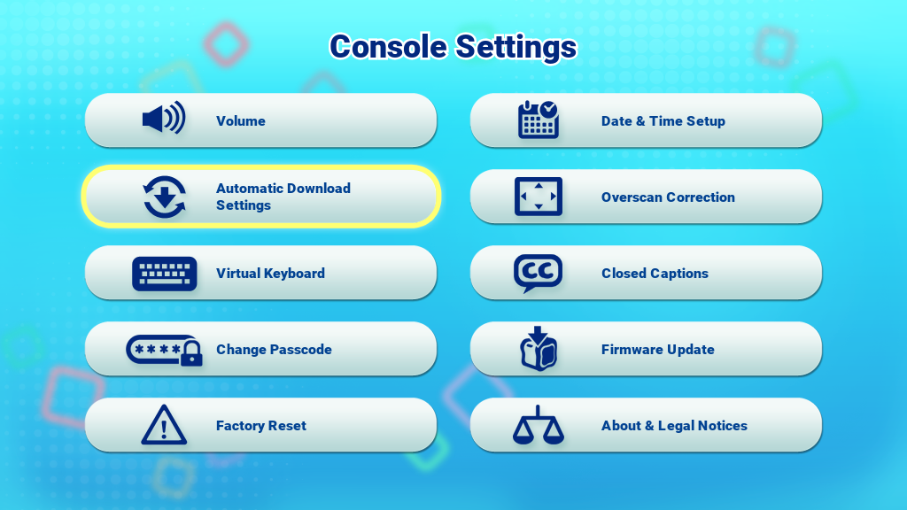 Automatic Download Settings icon on the Console Settings menu