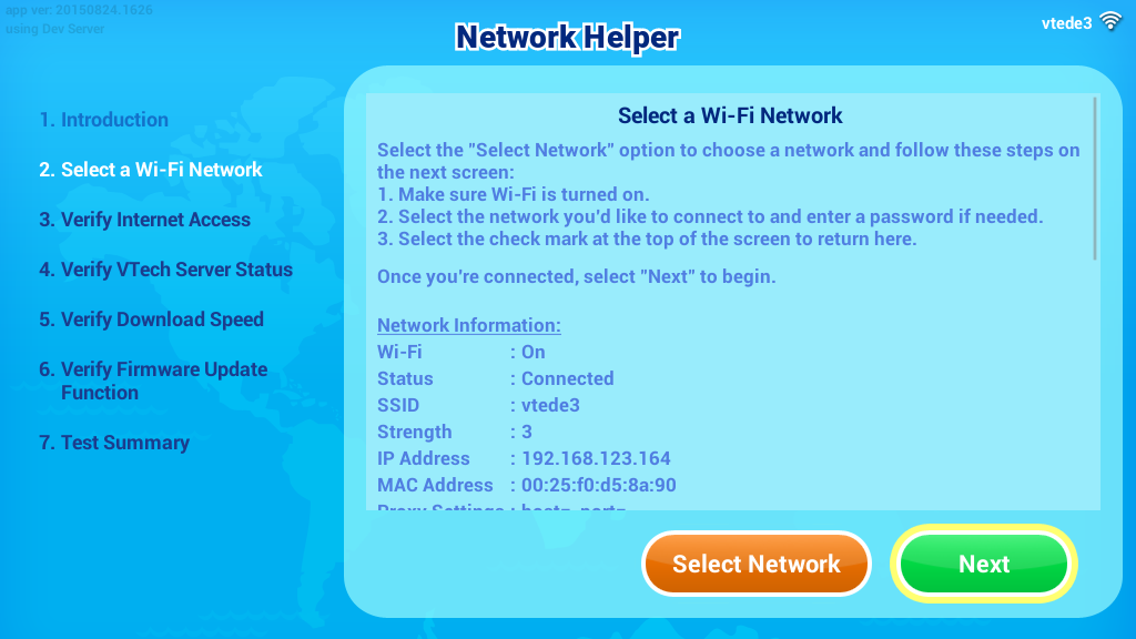 all the rest of the verification steps in Network Helper