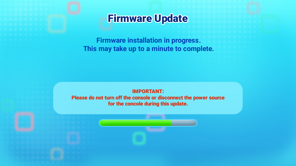 Screen capture: Firmware Update