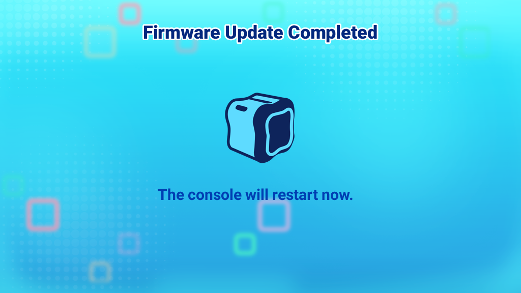 Screen capture: Firmware Update Completed.