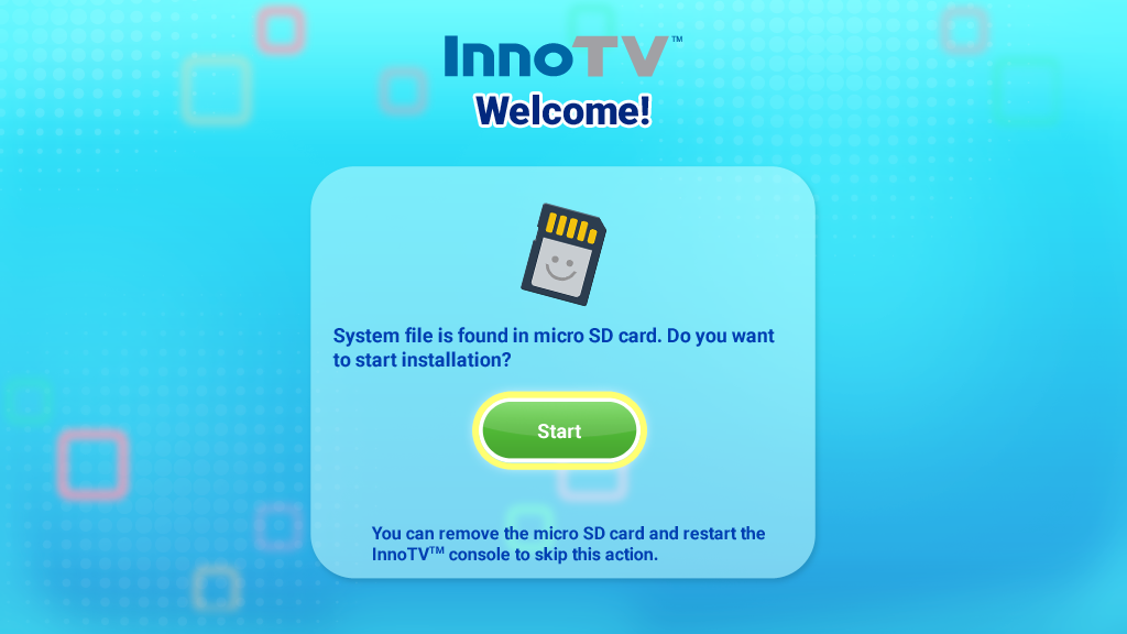 InnoTV Welcome page with Start installing button screen capture.