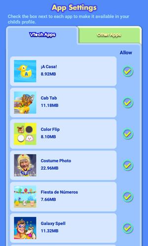 Screen: App Settings > VTech Apps