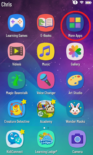 Select 'More Apps' from the child's Home screen
