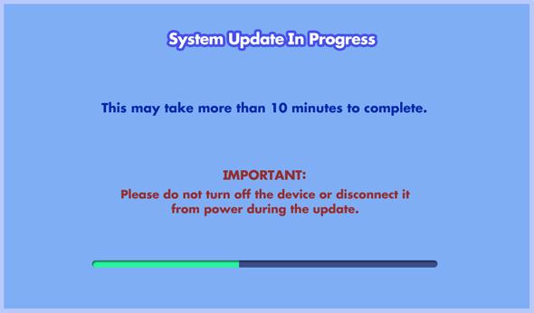 Screen: System Update In Progress
