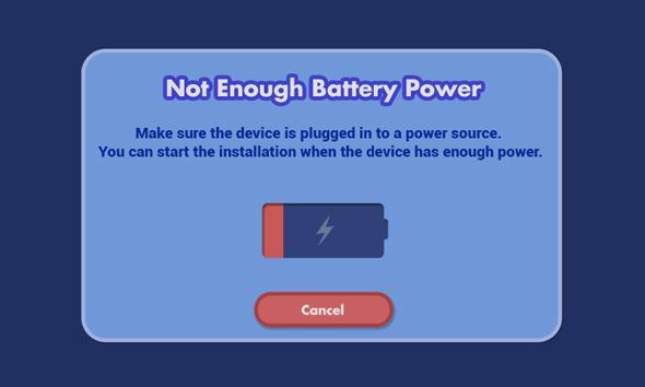 Screen: Not Enough Battery Power