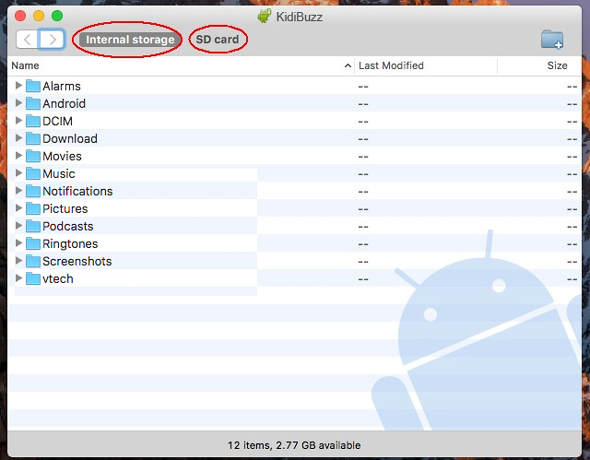 Select 'Internal storage' to see all the folders in the root directory of the device