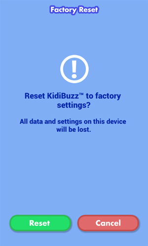 Factory Reset confirmation screen