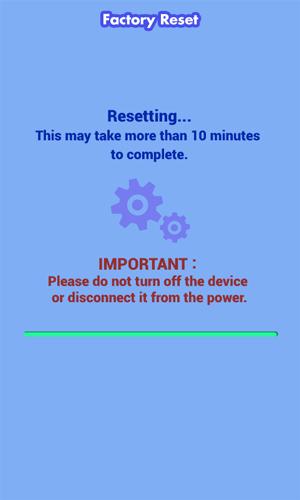 Factory Reset progress screen