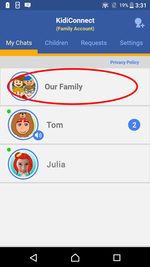 Show My Chats tab selected with a circle around the family group
