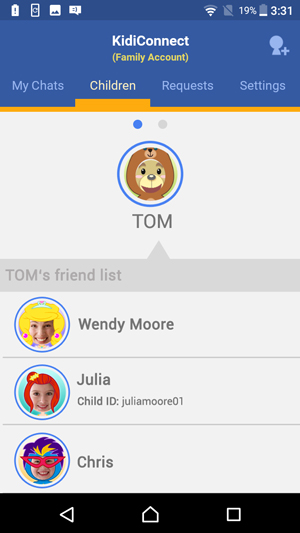 Show Friend Requests screen showing an invitation from someone else to join your family