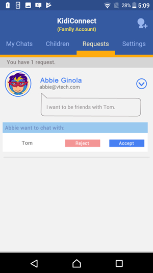 Show Friend Requests screen showing an invitation to join someone's family