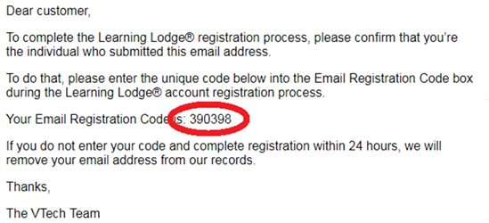 Screen: 6-digit Email Registration Code