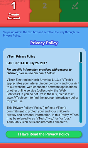 Screen: Privacy Policy.