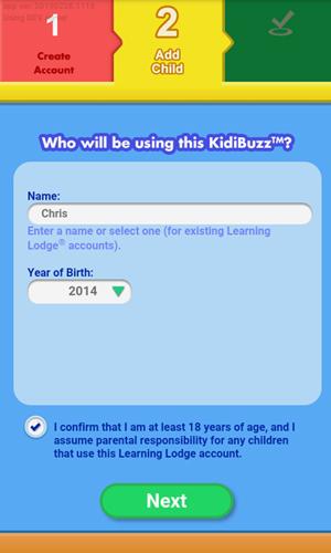 Screen: Creating a Child Profile