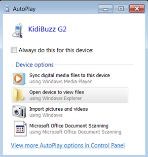 Screen: AutoPlay Window.