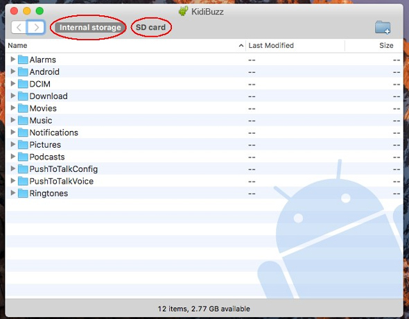 Screen: Internal storage or SD card on Mac