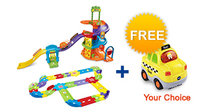 Buy Spinning Spiral Tower Playset with Deluxe Track set and receive 1 FREE vehicle