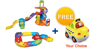 Buy Spinning Spiral Tower Playset and Junior Track Set and receive 1 FREE vehicle!