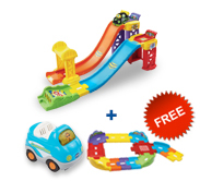 Buy 3-in-1 Launch & Play Raceway with vehicle and receive 1 FREE Junior Track Set