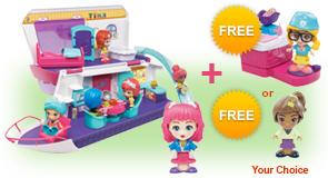 Buy a Flipsies<sup>™</sup> Sandy's House & Ocean Cruiser and a Flipsies<sup>™</sup> Doll, receive 1 FREE Flipsies<sup>™</sup> Playset or Doll