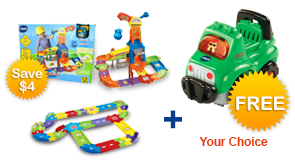 Buy Construction Playset with Deluxe Track set and receive 1 FREE vehicle
