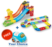 Buy 3-in-1 Launch & Play Raceway with Deluxe Track set and receive 1 FREE vehicle