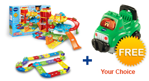 Buy Park & Learn Deluxe Garage with Deluxe Track set and receive 1 FREE Vehicle