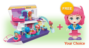Buy Flipsies Sandy's House & Ocean Cruiser and receive 1 FREE Flipsies Doll of your choice