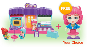 Buy a Flipsies<sup>™</sup> Clementine's Birthday Party & Bakery and a Flipsies<sup>™</sup> Doll, receive 1 extra FREE Flipsies<sup>™</sup> Doll of your choice