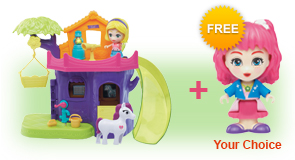Buy a Flipsies<sup>™</sup> Eva's Tree House & Vet Center and a Flipsies<sup>™</sup> Doll, receive 1 extra FREE Flipsies<sup>™</sup> Doll of your choice