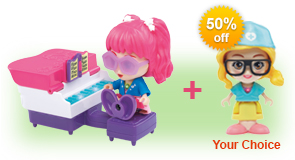 Buy Jazz's Vanity & Piano and receive 50% off Flipsies Doll of your choice