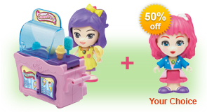 Buy Clementine's Kitchen & Ice Cream Cart and receive 50% off Flipsies Doll of your choice