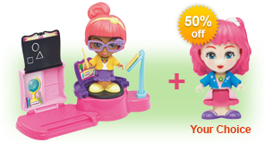 Buy Lexi's Trampoline & Classroom and receive 50% off Flipsies Doll of your choice