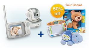 Buy Safe&Sound Pan & Tilt Full Color Video Monitor (VM333) and receive 50% off Learning Toy of your choice