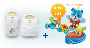 Buy Safe&Sound Digital Audio Baby Monitor DM111 and receive 50% off Learning Toy of your choice