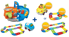 Buy 2-in-1 Race Track Playset + Deluxe Track Set + Vehicle and receive 1 FREE Vehicle or Junior Track Set or Deluxe Track Set