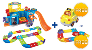 Buy the Lift & Fix Repair Shop and Deluxe Track Set, receive a FREE Vehicle or Junior Track Set