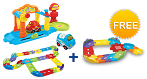 Buy Car Wash Playset + Deluxe Track Set + Vehicle and receive 1 FREE Junior Track Set