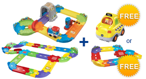 Buy Choo-Choo Train + Deluxe Track Set and receive 1 FREE Vehicle or Junior Track Set