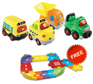 Buy 4 Go! Go! Smart Wheels vehicles and receive 1 FREE Junior Track Set