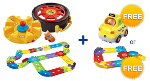 Buy Launch & Go Storage Case + Deluxe Track Set and receive 1 FREE Vehicle or Junior Track Set
